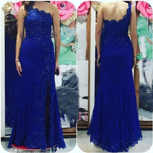 Blue One Shoulder Backless Beading Mermaid Lace Prom Dresses 2017 #SKU:100701