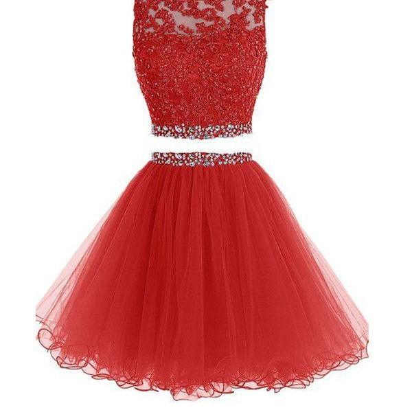 Two Pieces Prom Dresses Applique Short Homecoming Dresses PG036