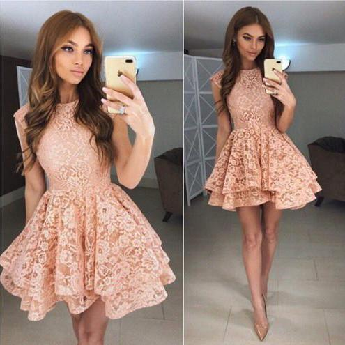 Charming A-Line Round Neck Lace Short Homecoming Dresses prom dresses
