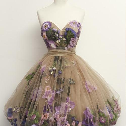 Glamorous A-Line Sweetheart Vintage Style Homecoming Dress with Flowers