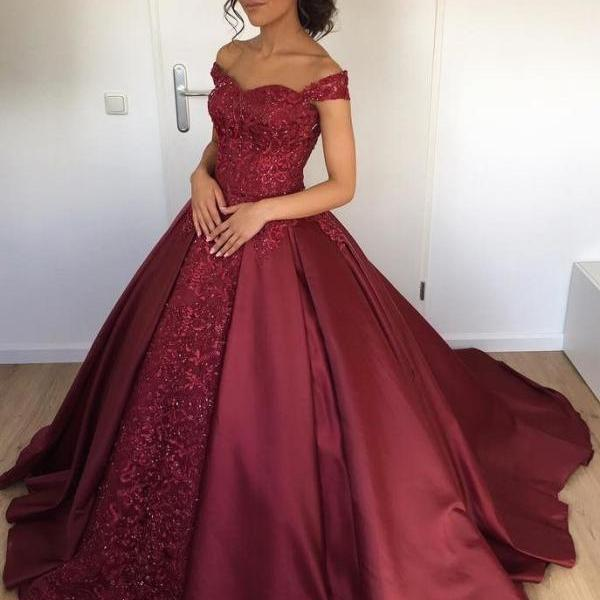 Off the Shoulder Burgundy Ball Gown Bridal Dresses,Shinning Satin Wedding Dresses 2018