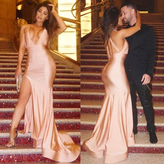 Sexy Evening Dress Sheath Light Champagne Deep V-neck Side Slit Backless Evening Dreses Prom Dress