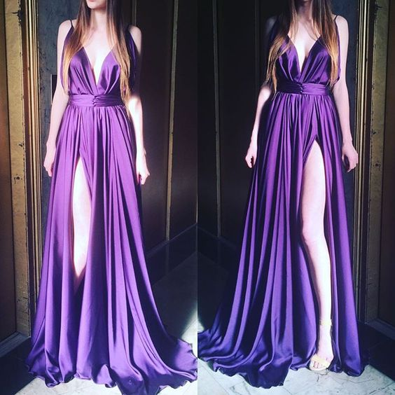 Prom Dress Sexy Deep V=neck Purple Side Slit Satin Long Prom Dresses Party Dress