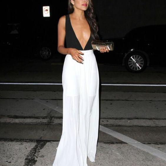 Celebrity Dress A-line Black and White Deep V-neck Chiffon Long Evening Dress Prom Dress