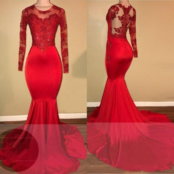 Red lace mermaid prom dress, long sleeve evening gowns