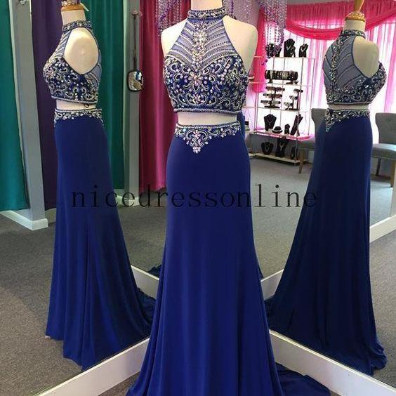 Hot Sale Real Images High Neck Beaded Royal Chiffon Sheath Pageant Dress with Zipper Back