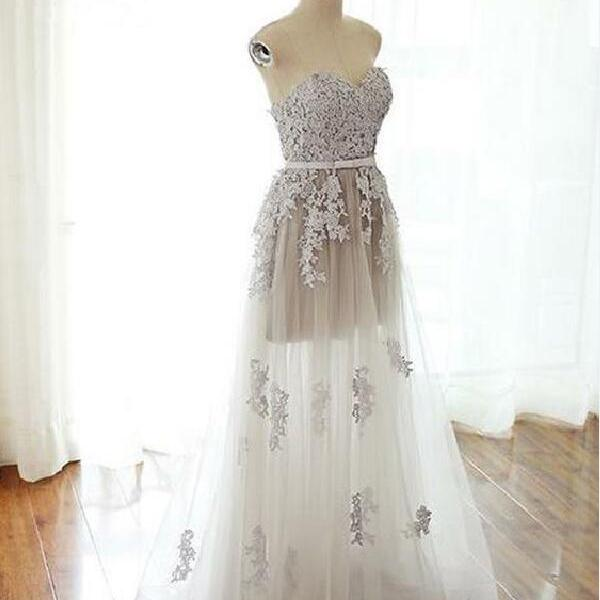 Stylish A Line Strapless Lace Up Long Grey Tulle Prom Party Dress With Appliques,2018 prom dress, long prom dress