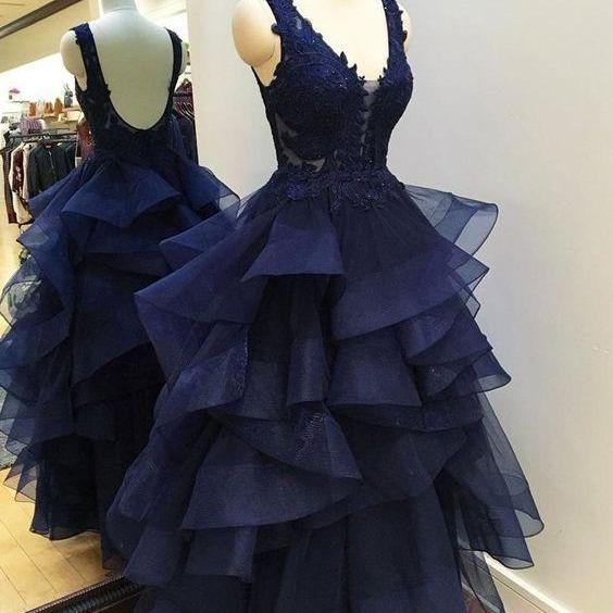 Lace Appliqued See Through Navy Prom Dresses,Long Pageant Dresses