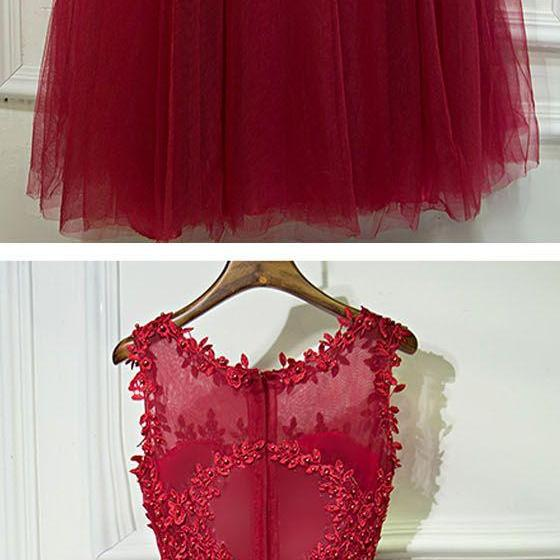 Red Formal Sleeves Tulle Applique Cheap Long Prom Dresses