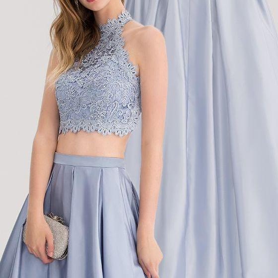 Ball-Gown Scoop Neck Floor-Length Satin Prom Dress With Beading