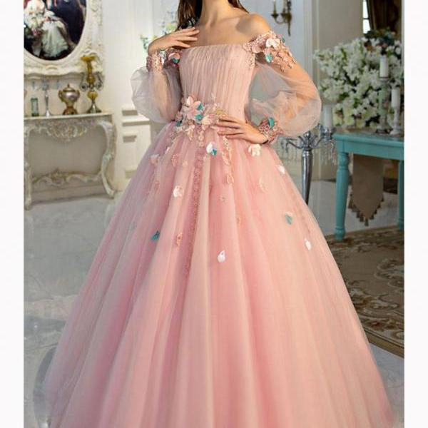 CHIC A-LINE PINK PROM DRESS,OFF-THE-SHOULDER TULLE APPLIQUE LONG SLEEVE EVENING DRESS PARTY DRESS