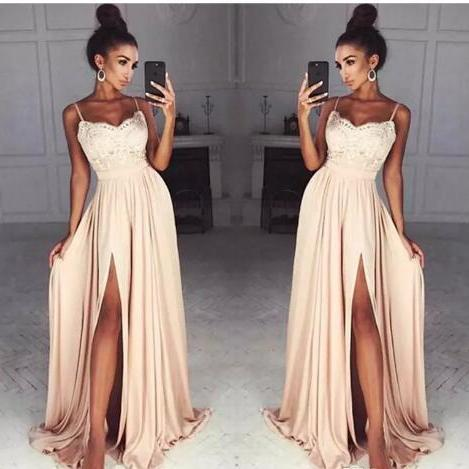 2018 Chiffon Prom Dresses, Long Spaghetti Straps Prom Dress, Side Split Sexy Cocktail Party Dress Custom Made