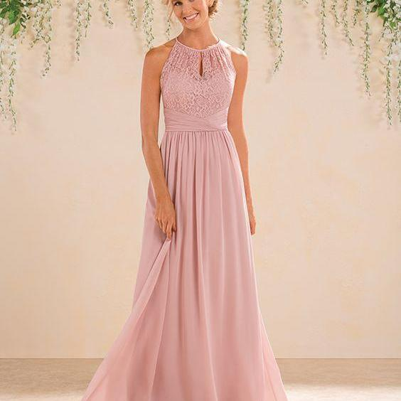 Pink Lace Halter Neck Floor Length A-Line Bridesmaid Dress, Prom Dress