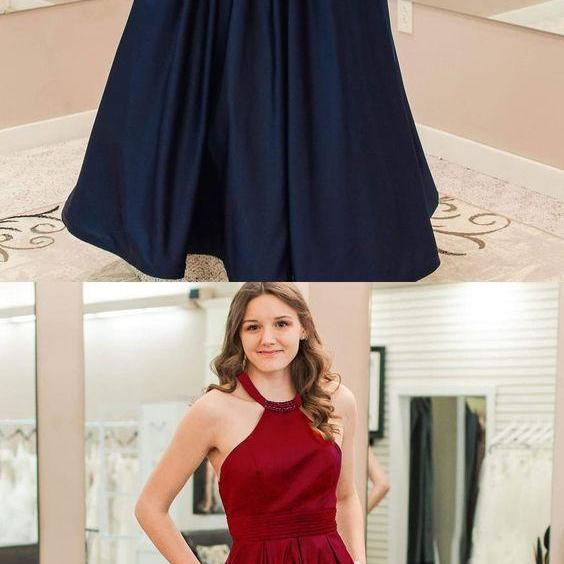 Halter Navy Blue Satin Prom Dress, Simple burgundy long formal evening party dress, prom dress with pocket