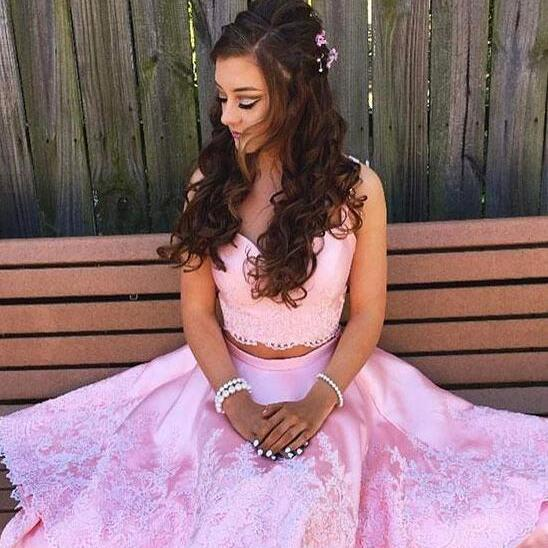 Pink Prom Dresses,Two Piece Prom Dresses,Prom Dresses for Teens