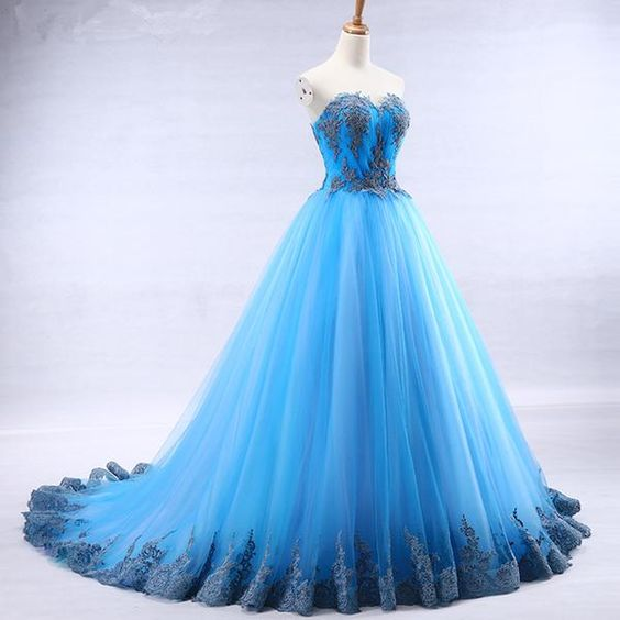 Bright blue tulle sweetheart neck long strapless a line senior prom dress with appliqué
