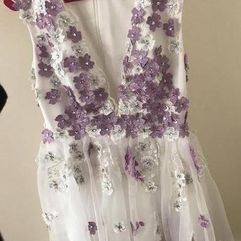 Flowy Plunging Neck Flowers Homecoming Dress