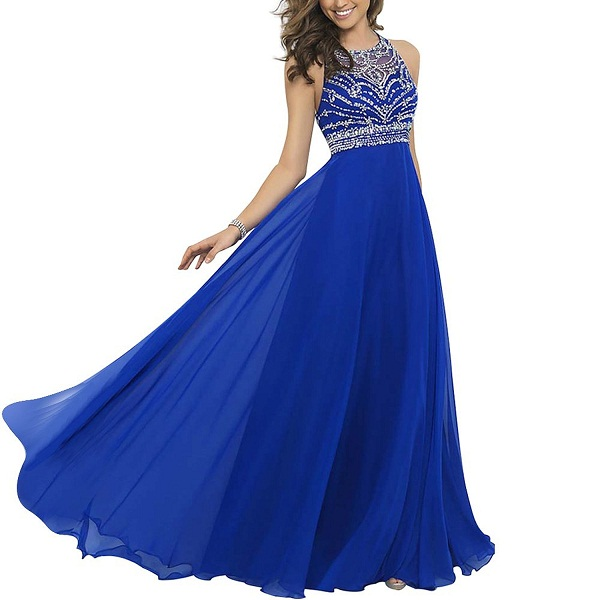 Royal Blue Sleeveless Sequin Beaded A-Line Chiffon Floor Length Bridesmaid Dress, Prom Dress