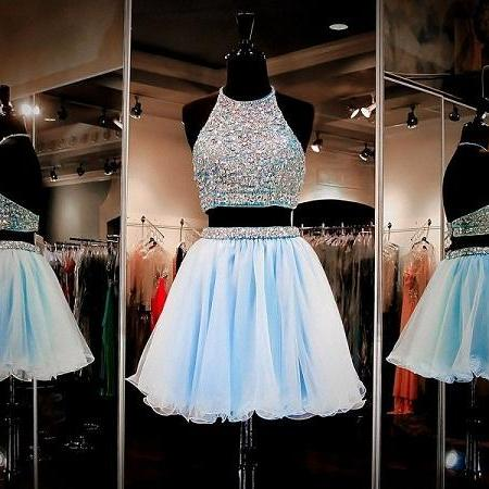 2015 prom gowns and party drresses of Women'sWomen's Halter Rhinestones Beading Waistline Two Piece Short Homecoming Dress