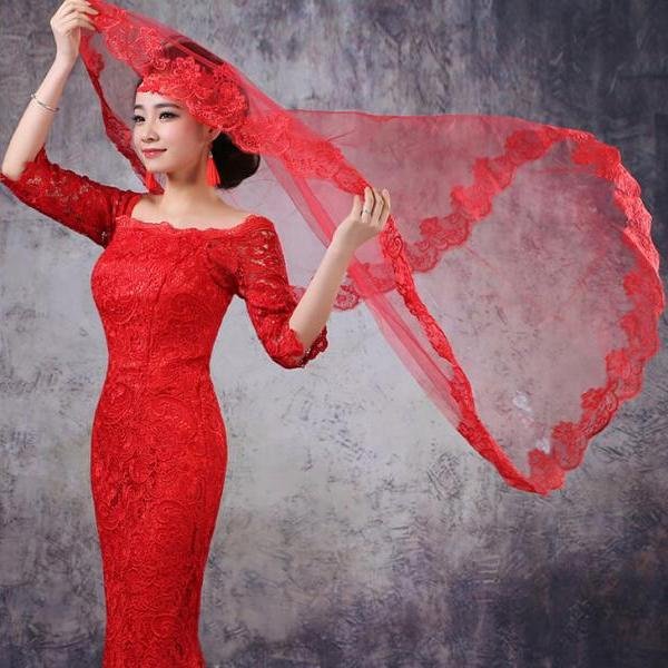 Wedding dress accessories 2015 spring and autumn new bride Red Lace Wedding Veil 1.5 meters