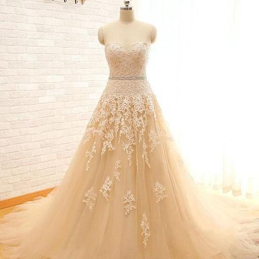 2015 WEDDING DRESSES Real Image Sweetheart Lace Tulle Wedding Dresses Champagne Wedding Gowns, Bridal Dresses, Vestido De Novias, Weddings