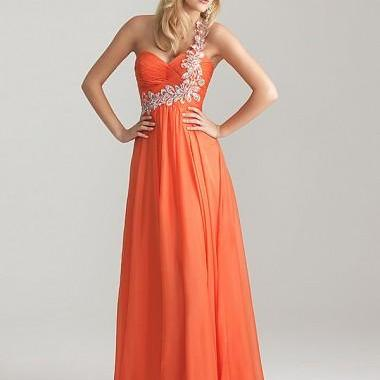 Women's A-line One Shoulder Sleeveless Chiffon Prom Dresses With Beaded Bridal Gowns Sleeve prom gowns