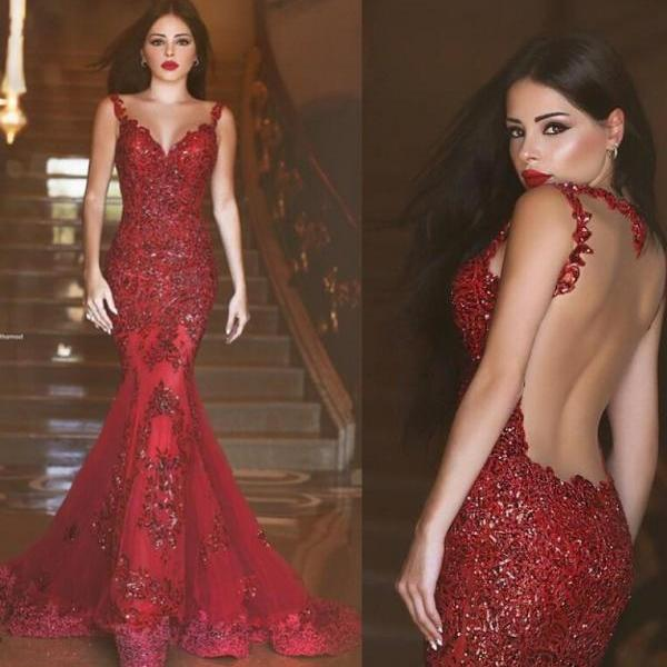 2016 New Arabic Backless Mermaid Evening Dresses 2015 Charming Long Prom Gowns