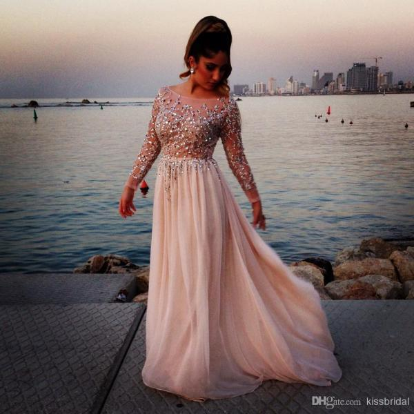 Prom Dresses Sheer Bateau Neck Long Sleeves A-Line Chapel Train Chiffon Evening Gowns