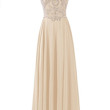 Prom Dresses Chiffon Prom Dress Long Halter Bridesmaid Gown with Beads Champagne