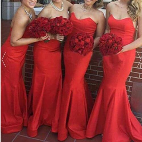 Real Sexy Long Mermaid Strapless Simple Cheap Bridesmaid Dresses,Red Bridesmaids Dresses,Bridesmaid Gowns