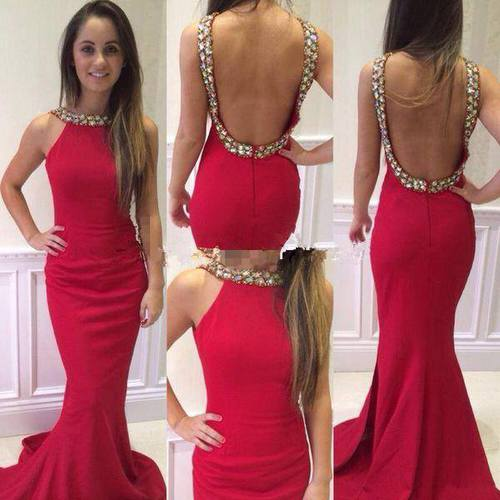 High Quality Prom Dress Mermaid Prom Dress Beading Prom Dress Backless Prom Dress Charming Prom Dress