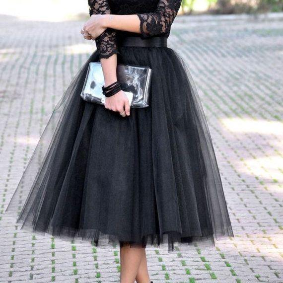 Long Sleeve Lace Black Prom Dress Tulle Prom Dress Mid Calf Prom Dress