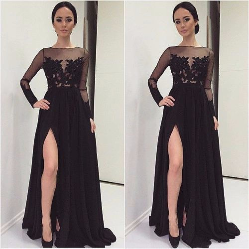 custom made long prom dreses appliques lace prom dresses high slit prom dress long sleeve evening dress pageant dress mermaid foraml gown for wedding guest party