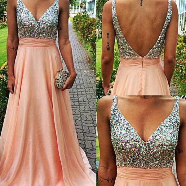 2016 Beading prom Dresses, V-Neck Floor-Length Evening Dresses, Real Made Evening Dresses,Chiffon Sequins Evening Dresses, Charming Evening Dresses