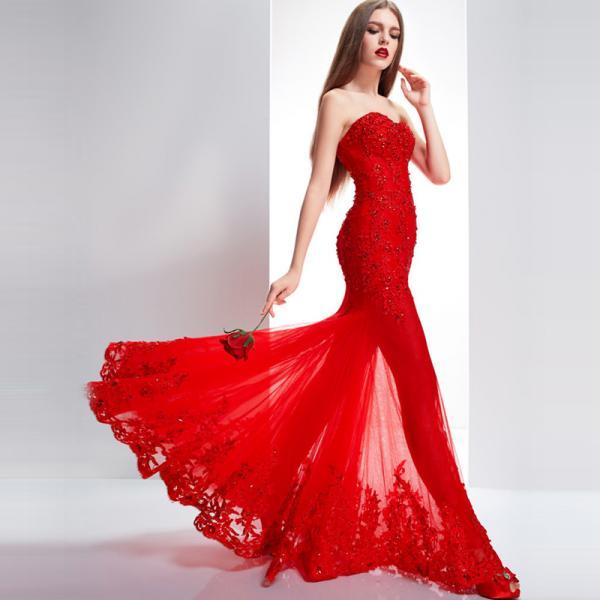 Red Mermaid Prom Dresses Long Sexy See Through Skirt vestido de festa Beaded Applique Flowing Women Party Wear Gowns