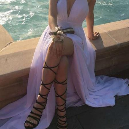 White Long Chiffon Halter Slit Prom Dresses 2017, Sexy V-neckline Party Dresses, Women Formal Dresses