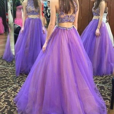 Two Pieces Tulle A-Line Prom Dresses,Long Prom Dresses,Cheap Prom Dresses, Evening Dress Prom Gowns, Formal Women Dress,Prom Dress