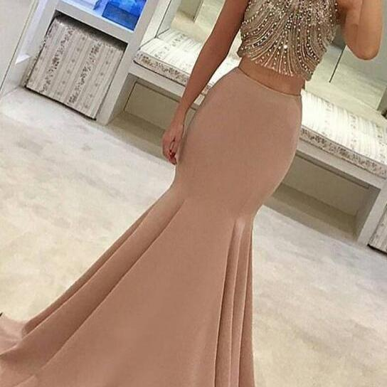 Two Piece Prom Dress, 2017 Prom Dress, Mermaid Long Prom Dress, Gorgeous Formal Evening Dress