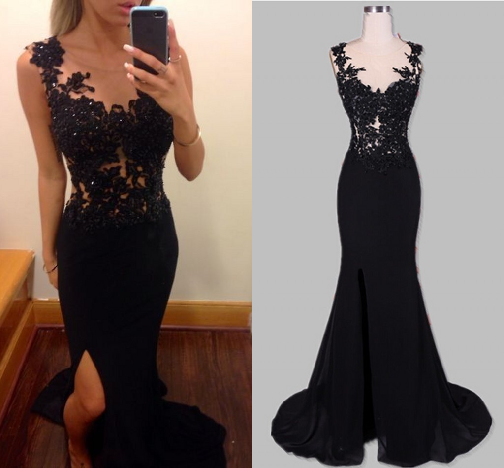 Sexy one shoulder prom dress with side slit