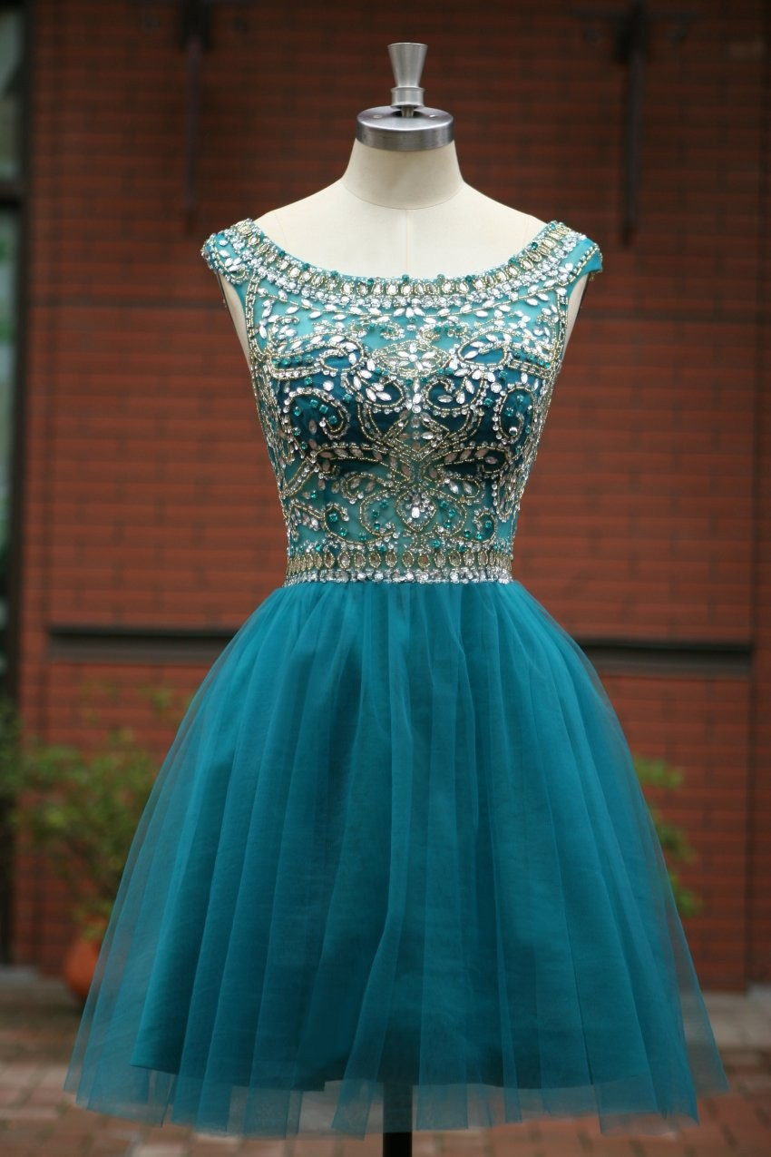 Simple V-neck Mint Homeocming Dresses,Cute Graduation Dresses,Open ...